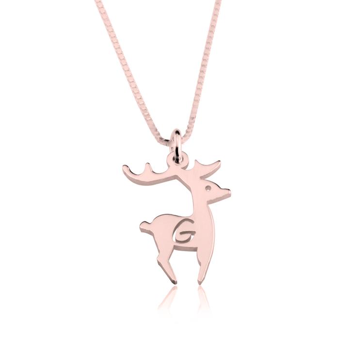 Deer Initial Necklace