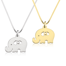 Collier Petit Éléphant avec Initiale