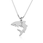 Collier Petit Requin avec Initiale - Thumb