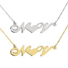 Heart initials necklace