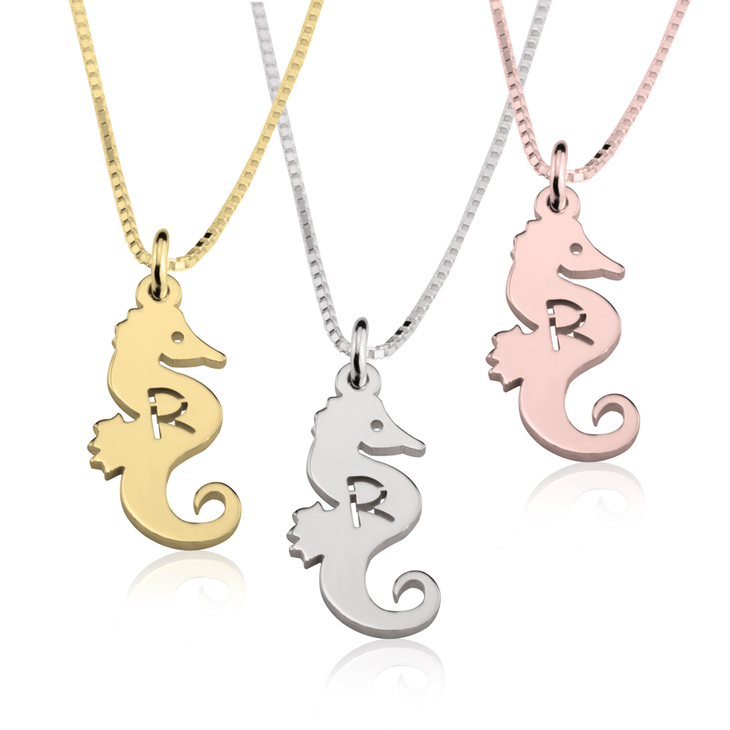 Seahorse Initial Necklace