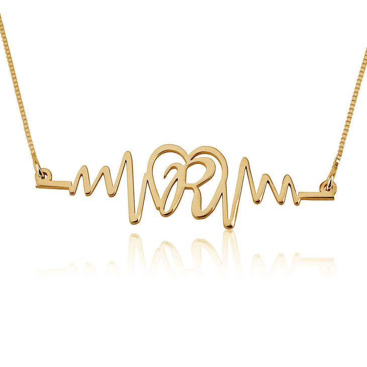 Initial Heartbeat Necklace