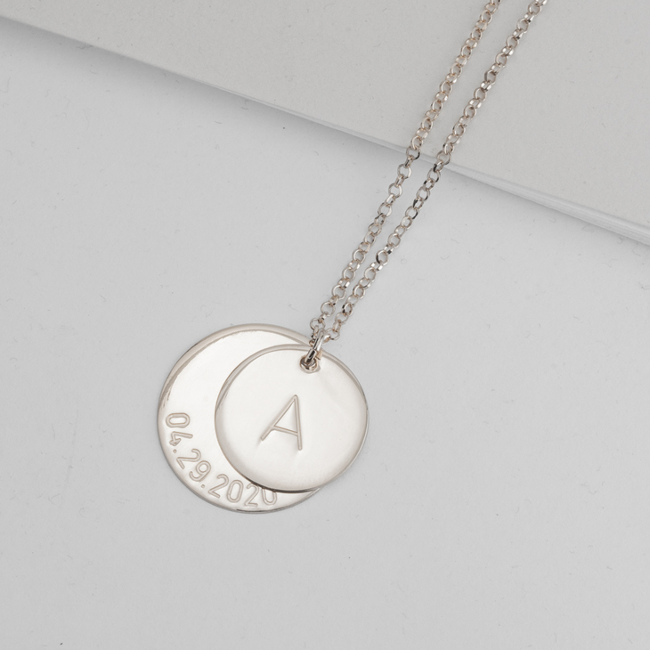 Engraved Initial & Date Necklace - Model