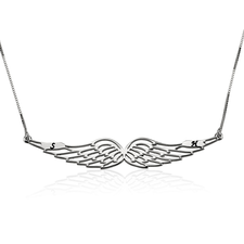 Angel Wing Necklace with Initials
