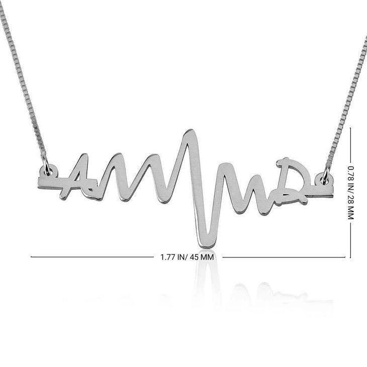 Two Initials Heartbeat Necklace - Information