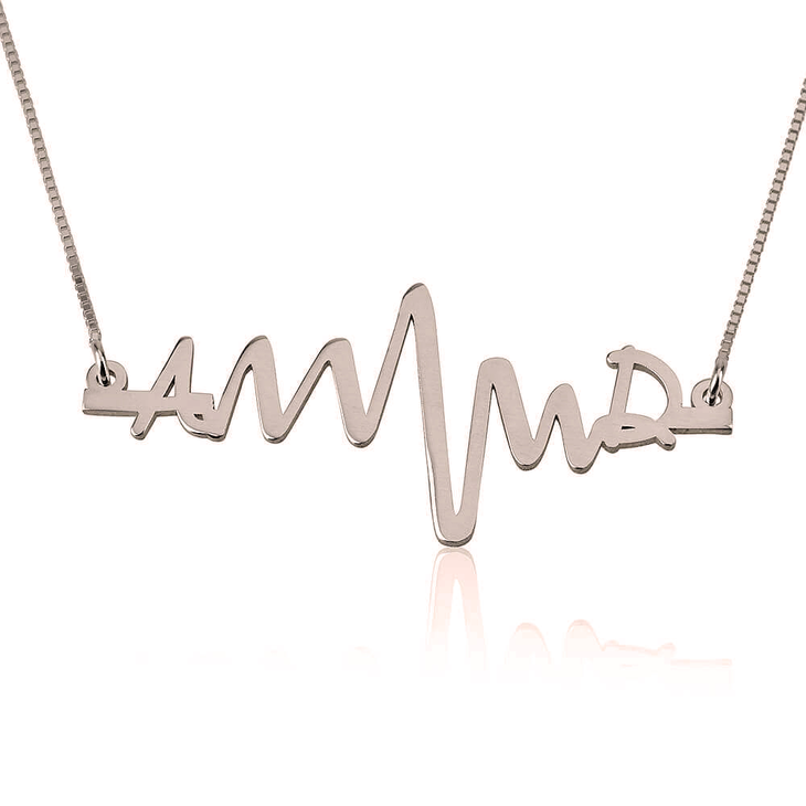 Two Initials Heartbeat Necklace
