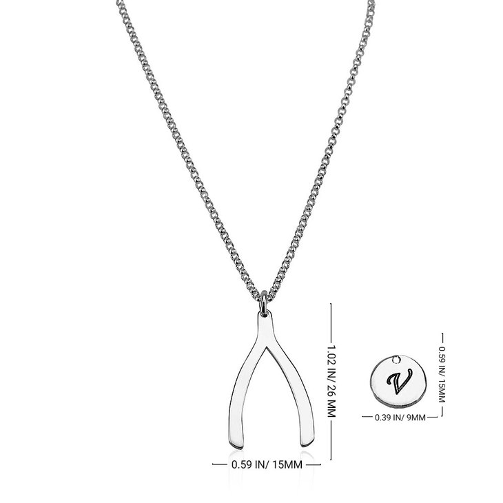 Initial Wishbone Layered Necklace - Information