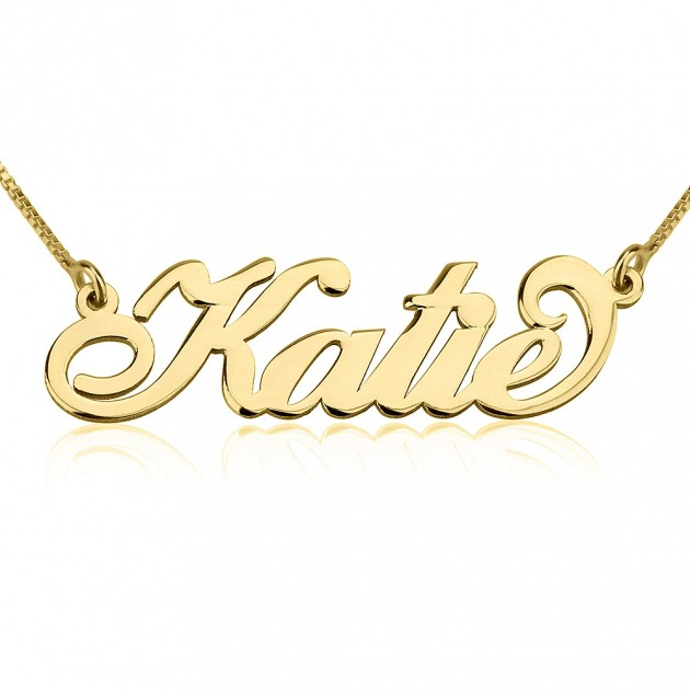 14k gold carrie name necklace onecklace