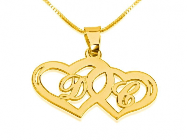 Couple initial necklace initials necklace with two hearts aloadofball Choice Image