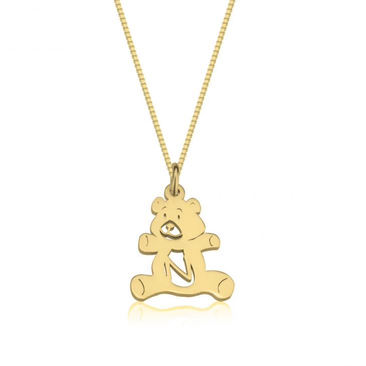 Teddy Bear Initial Necklace