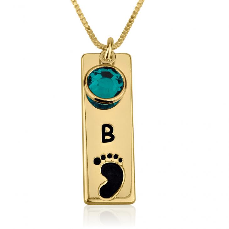 Vertical Bar Footprint Necklace