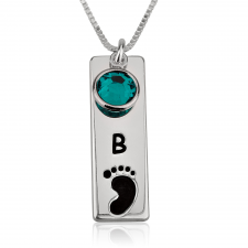 Vertical Bar Footprint Necklace