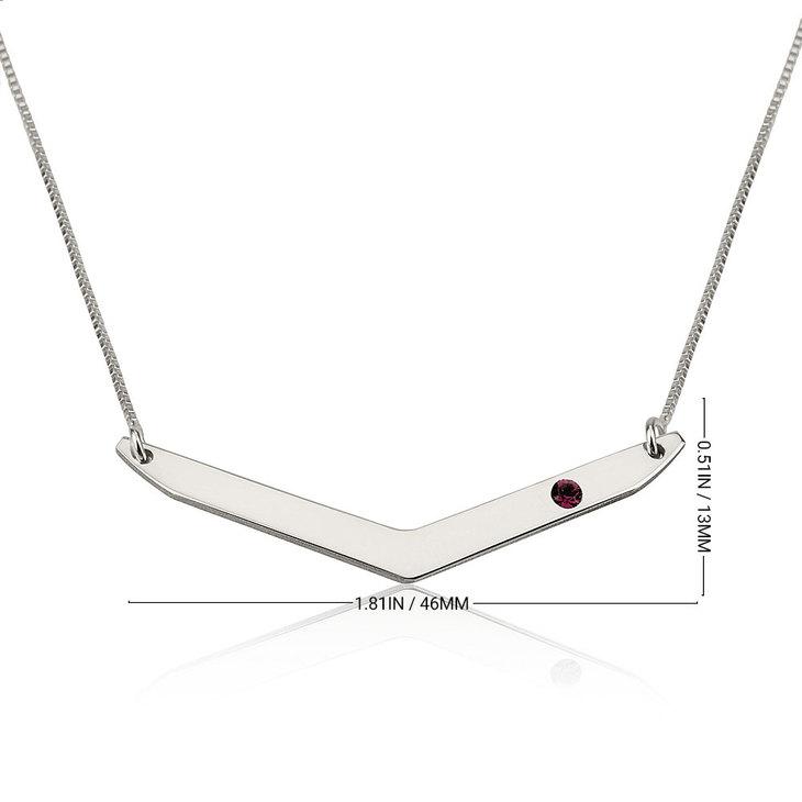 Chevron Necklace with Birthstone - Information