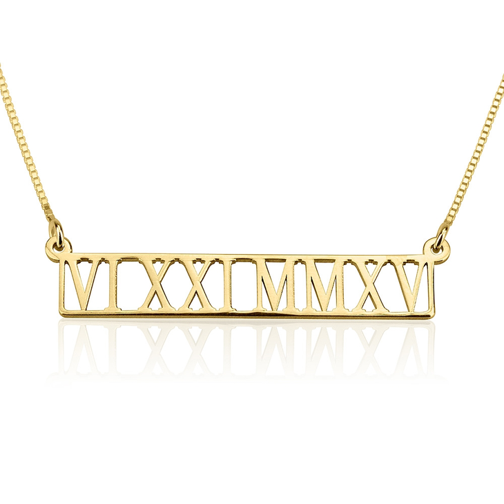 Roman Numeral Cut Out Necklace