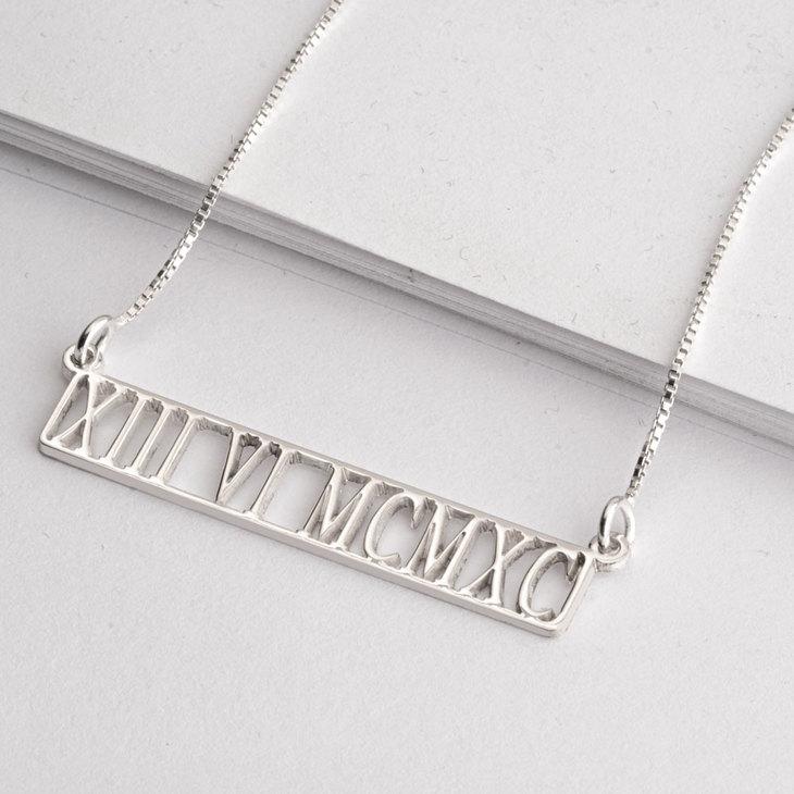Roman Numeral Cut Out Necklace - Model