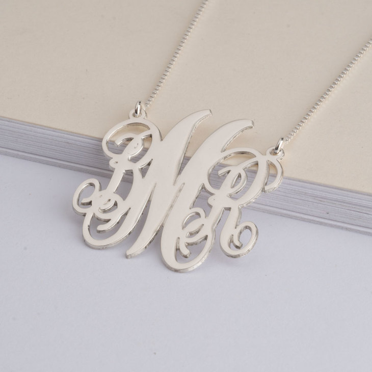 Split Chain Monogram Necklace - Model