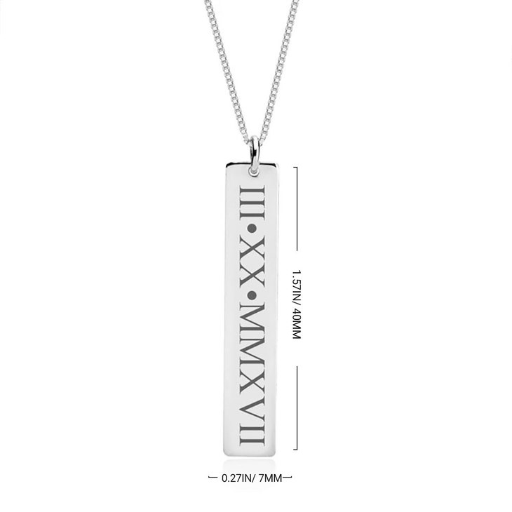 Vertical Roman Numeral Necklace - Information