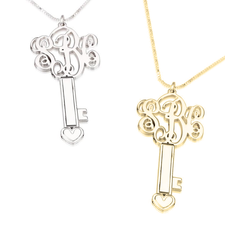 3 Initial Key Monogram Necklace