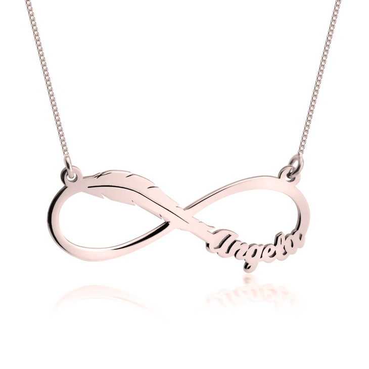 Infinity Feather Name Necklace