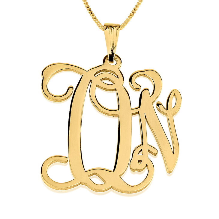 Two Letter Monogram Necklace  - Picture 2