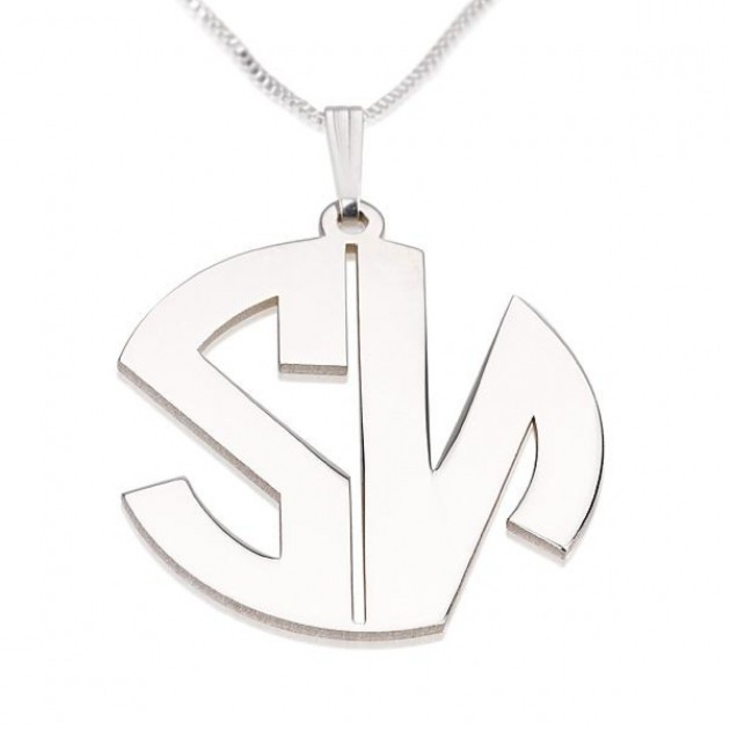 Block Letters Monogram Necklace - Picture 2