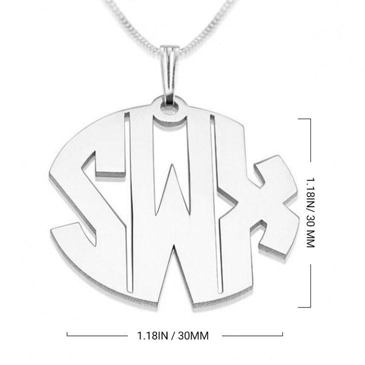 Block Letters Monogram Necklace - Information