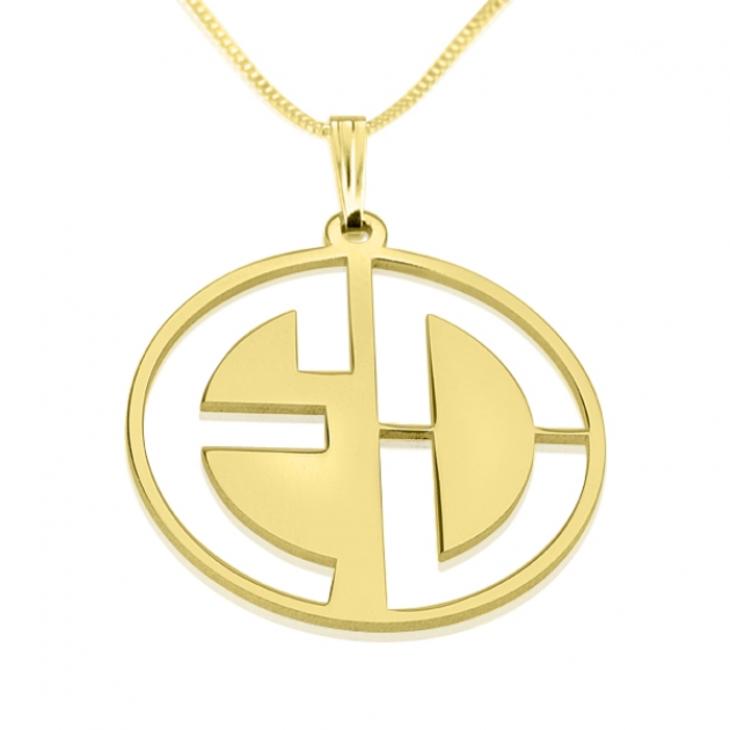 Block Letters Cut Out Monogram Necklace - Picture 2