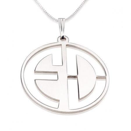 Block Letters Cut Out Monogram Necklace