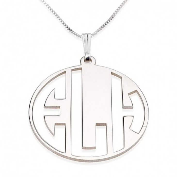 Block Letters Cut Out Monogram Necklace  - Picture 2