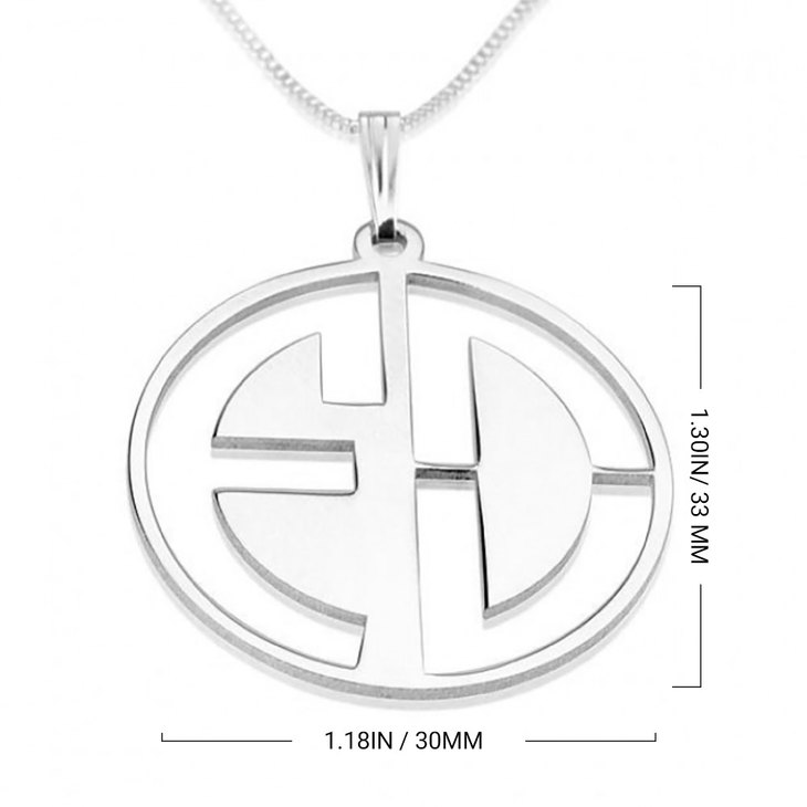 Block Letters Cut Out Monogram Necklace - Information