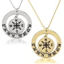 Custom Coordinates and Compass Necklace