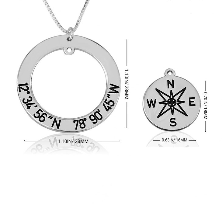 Custom Coordinates and Compass Necklace - Information