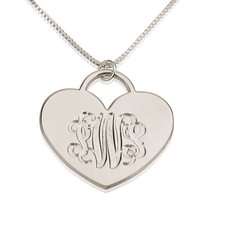 Engraved Heart Monogram Necklace