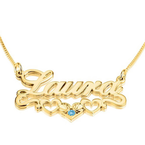 Birthstone Name Necklace with Underline Hearts