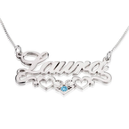 Name Necklace with underline Hearts - Thumb