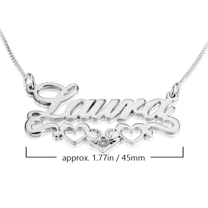 Name Necklace with underline Hearts - Information