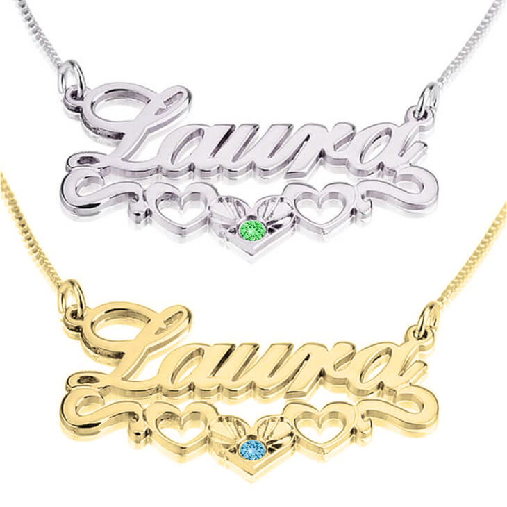 0bad7006e Name Necklace with underline Hearts
