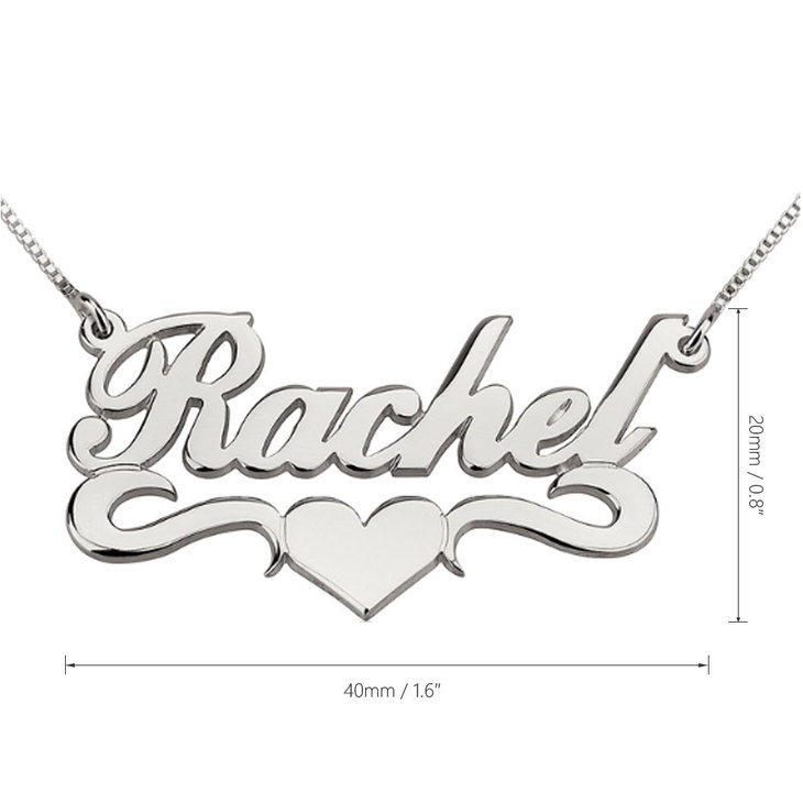 Name Necklace With Heart - Information