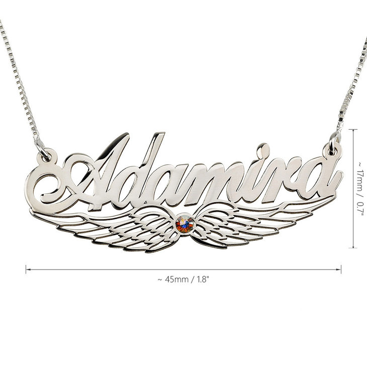 Angel Wing Swarovski Name Necklace - Information