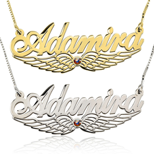Angel Wing Swarovski Name Necklace