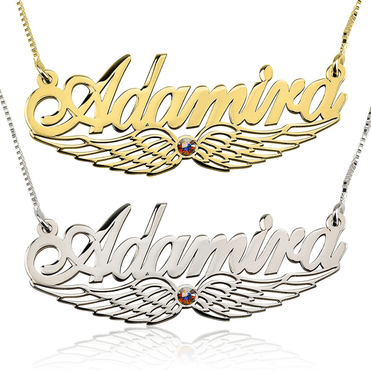 Angel Wing Name Necklace