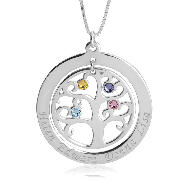 family necklace necklaces tree gold circle engraved plated