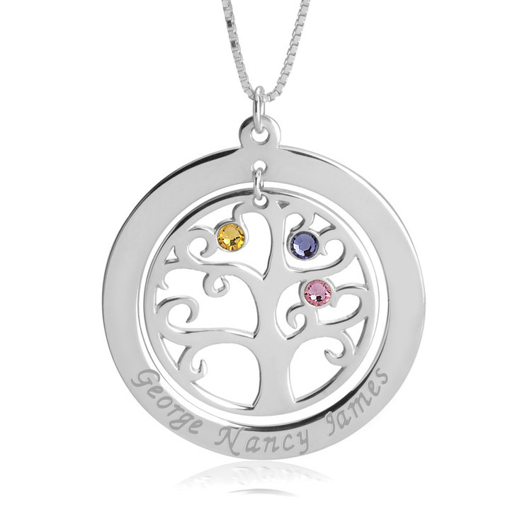 Family Tree Necklace with Birthstones  - Picture 2