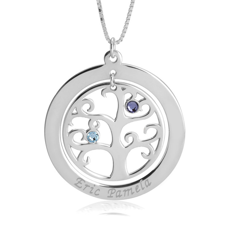 Family Tree Necklace with Birthstones  - Picture 3