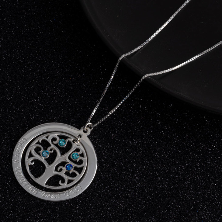 Family Tree Necklace with Birthstones - Model