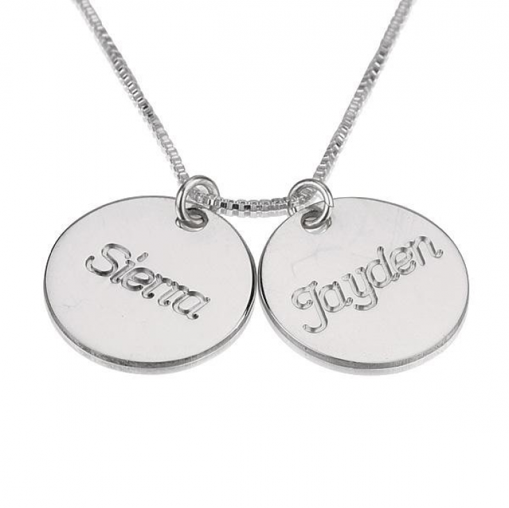 Necklace with two names engraved necklace with two names aloadofball Choice Image