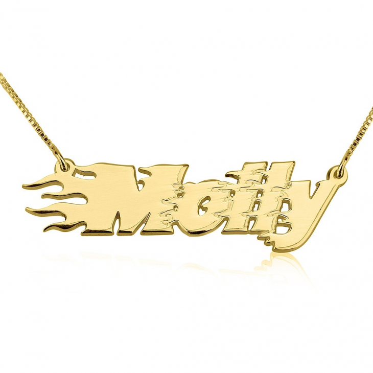 Fire Line Name Necklace