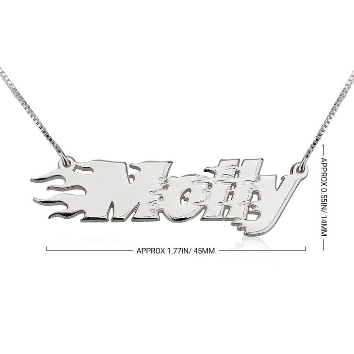 Fire Line Name Necklace - Information