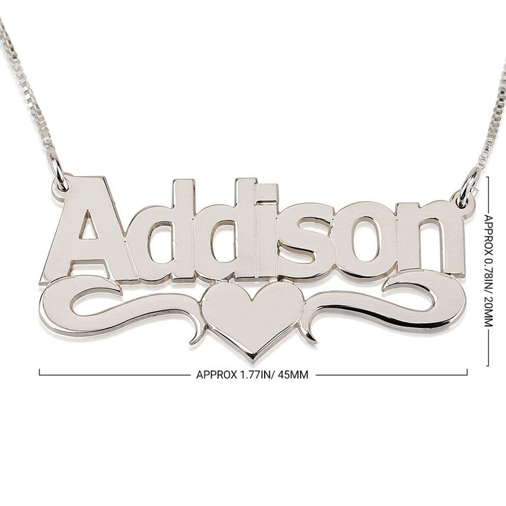 Bold Name Necklace with Heart - Information