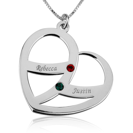 Name and Birthstone Heart Necklace for Mom